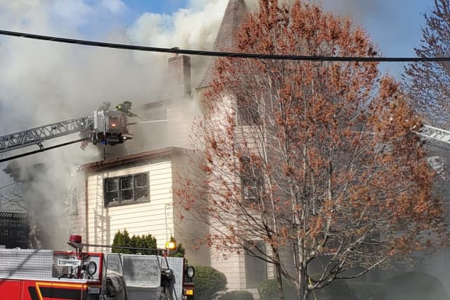 Passaic firefighters battled the High Street blaze from outside.