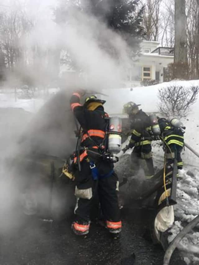 Croton-on-Hudson firefighters on Thursday extinguished a blaze that had begun in a snow plow.