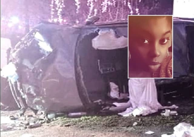 INSET: Denise Guy of Lodi / PHOTO: The wrecked Nissan
