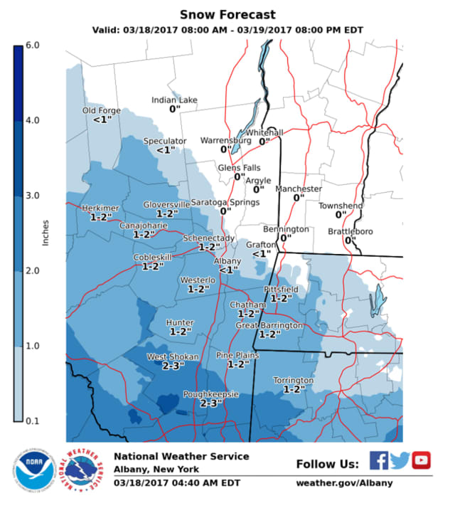 A look at projected snowfall totals in Dutchess and surrounding areas.