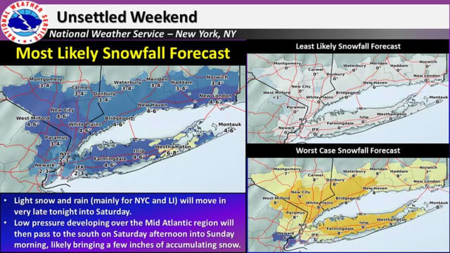 The latest snowfall projections, released Friday morning by the National Weather Service, show parts of Fairfield County could get up to half a foot of snowfall accumulation.
