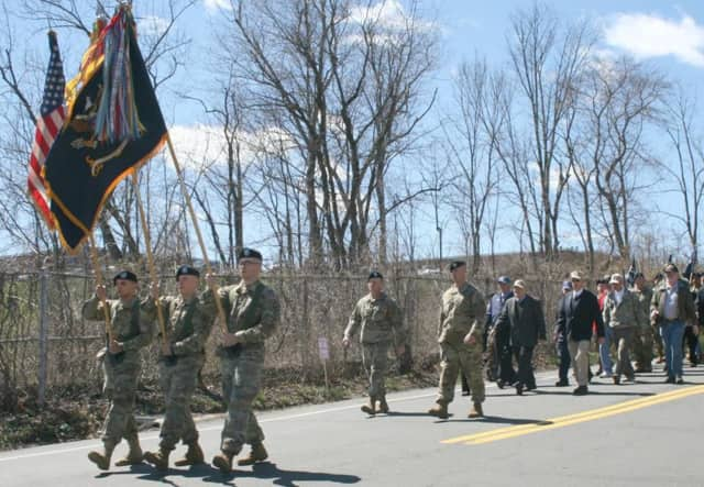 Members of the 31st Infantry Regiment from Fort Drum, N.Y., along members of the community took part in a commemoration ceremony on the 75th anniversary of the Battle of Bataan.