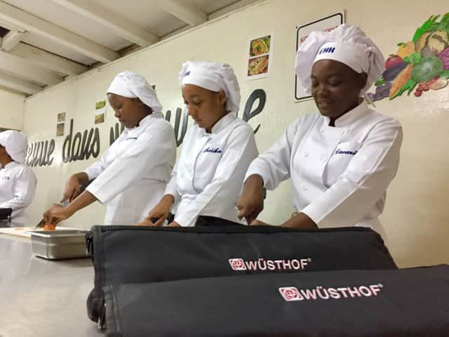 Three chefs using Wushof's cutlery during thier cook.