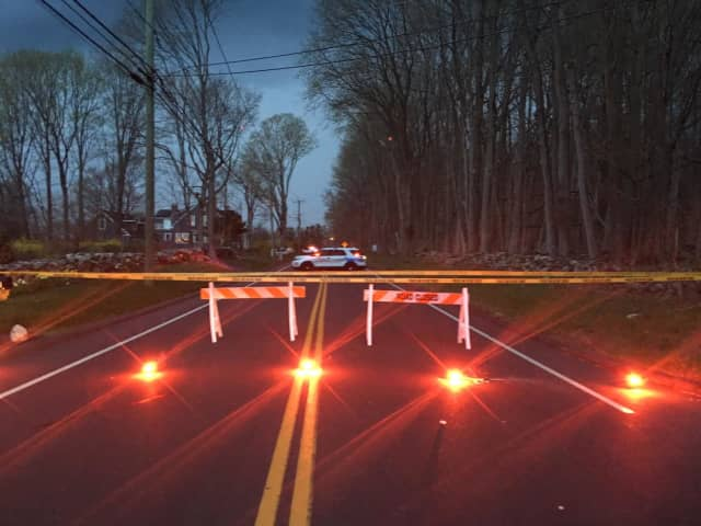 Brookfield police divert traffic around a serious accident in the area of West Whisconier and Whisconier Road/Route 25 on Sunday evening.