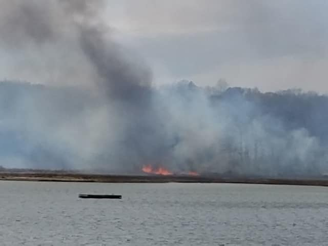 Firefighters are battling a blaze at the Marshlands Conservancy.
