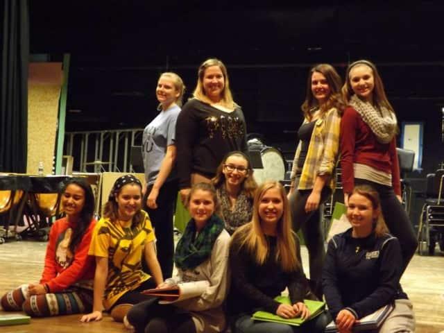 "RHS Drama Club rehearses for ""Joseph and the Technicolor Dream Coat."""