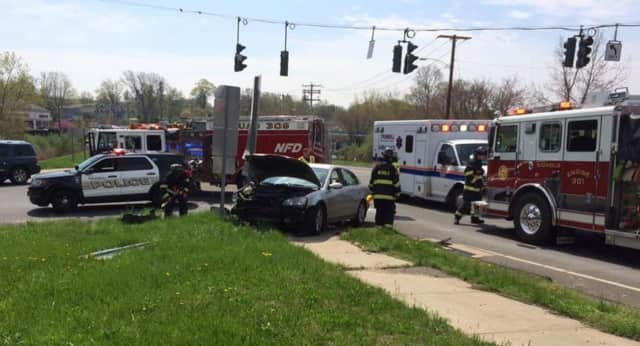 Nichols Fire Department, along with Trumbull police and EMS, respond to a car crash at Nichols Avenue and Hawley Lane.