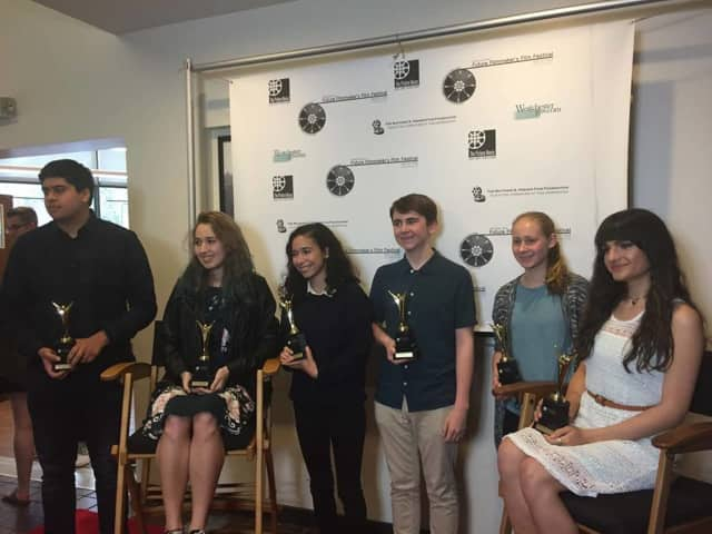 Leah Roffman (second from right) won the top prize at the Westchester Future Filmmakers Festival.