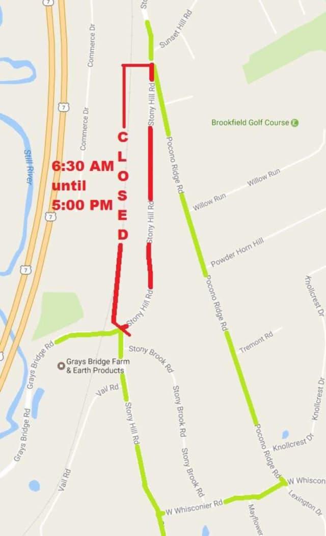 Stony Hill Road in Brookfield will be closed Saturday.