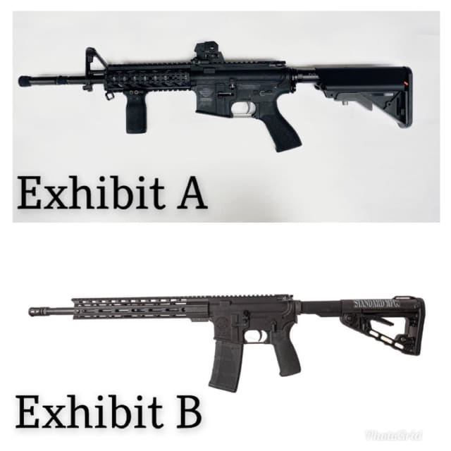 Exhibit A is an airsoft gun that was seized in Western Massachusetts, Exhibit B is an actual assault rifle.