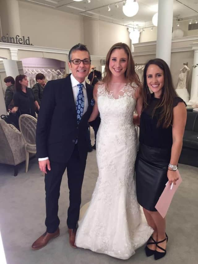 """Maywood's Karen Dimoski with Kleinfeld's employees and """"Say Yes to the Dress"""" stars who helped her."""