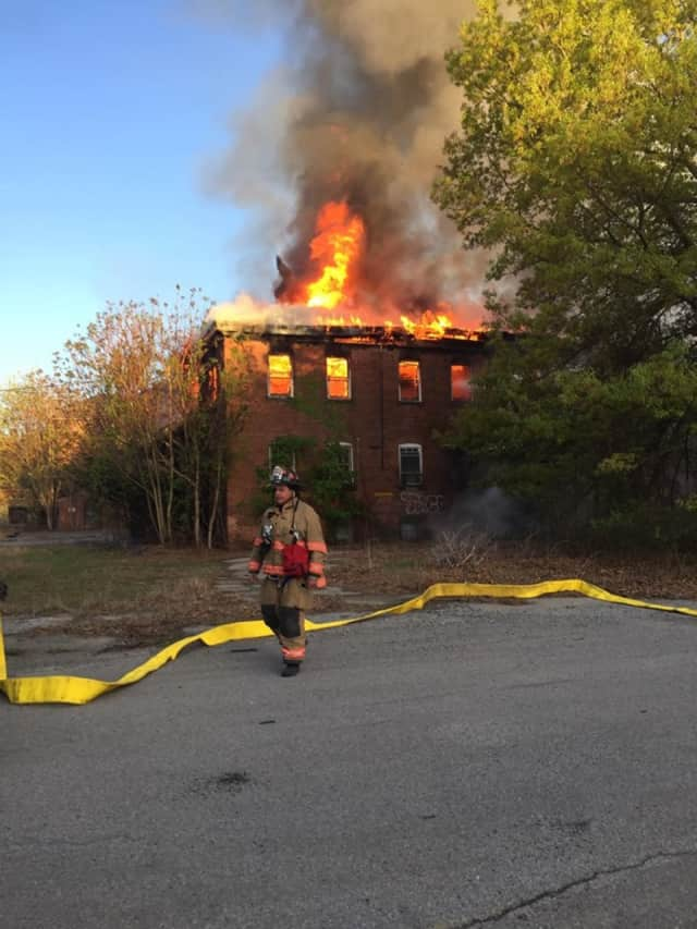 Firefighters are on the scene of a large fire at the former Hudson River Psychiatric Center.
