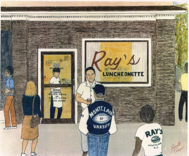 A painting of Montclair's popular Ray's Luncheonette by local folk artist Vincent Tango.