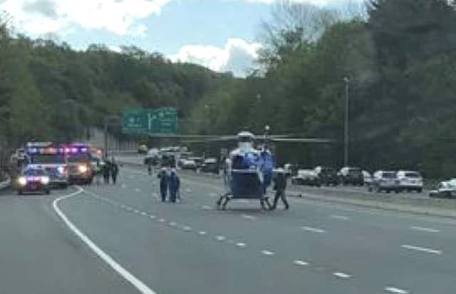 Southbound Route 287 was closed so the chopper could touch down.