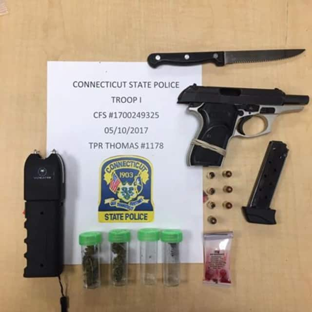 A 20-year-old Bridgeport man was found with a loaded .380 Special pistol with one round in the chamber and seven additional rounds, a taser, less than half an ounce of marijuana and a steak knife during a stop on the parkway, police said.