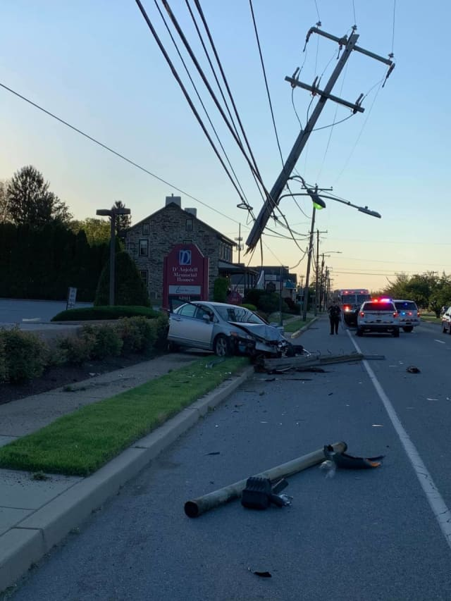 A driver was hospitalized after they crashed into a utility pole early Friday morning in Marple Township.