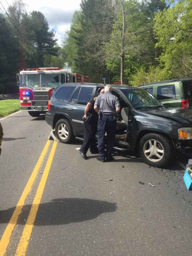 Crews from the the Stony Hill Volunteer Company are on the scene of a two-vehicle crash Saturday at Old Hawleyville Road near Kristy Drive in Bethel.