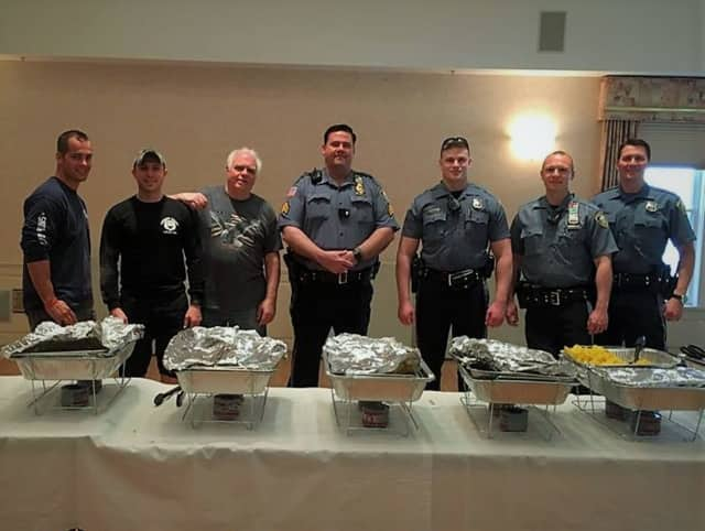 Some of the Woodcliff Lake officers who volunteered and helped with this year's annual Senior Pancake Breakfast earlier this month.