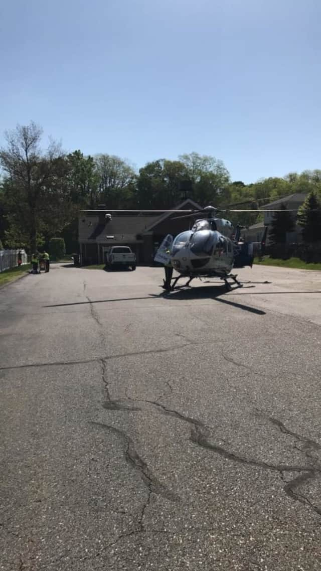 A motorcycle driver who crashed into a small SUV in Somers was taken by helicopter to a local hospital.