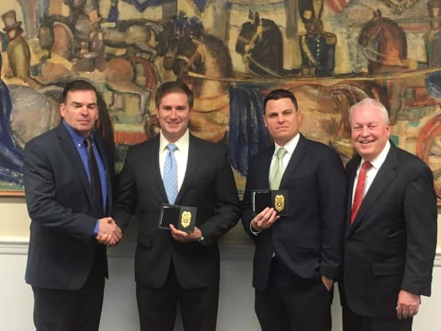 Left to right: Chief Gary MacNamara, Officer Jason Greenfield, Officer Eric Fuller, First Selectmen Mike Tetreau.
