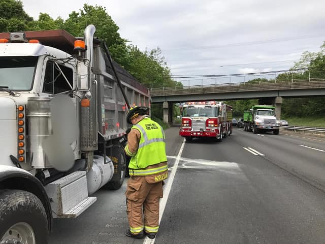 A small fire was doused under a dump truck on eastbound I-84 between Exits 8 and 9. The Stony Hill Volunteer Fire Company is on the scene.