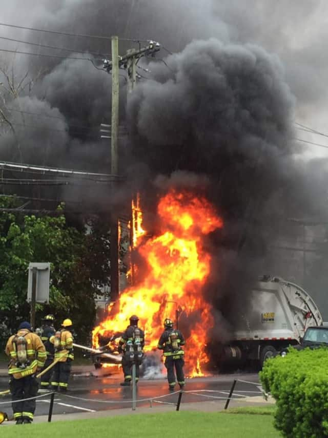 A White Plains garbage truck was destroyed around 11:50 a.m. Monday on South Lexington Avenue.