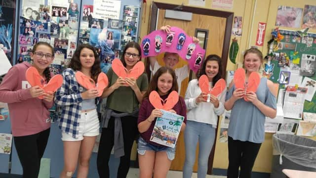 Seventh-grade students from South Orangetown Middle School signed up as Team TZ10 for the race and made a basket for the raffle.