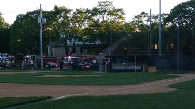 Firefighters contain a Cresskill church fire Friday.