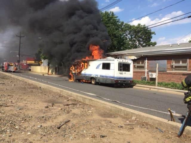 A camper caught fire in Hackensack Saturday.