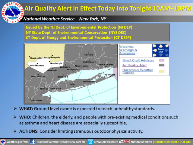 An Air Quality Alert is in effect until 10 p.m. Monday.