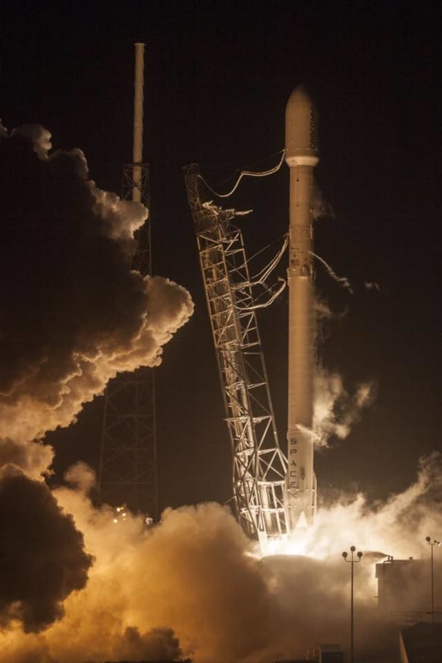 The SpaceX Falcon 9 rocket lifts off at Cape Canaveral Air Force Station, Monday, Dec. 21, 2015. The rocket, carrying 11 communications satellites for Orbcomm, Inc., is the first launch of the rocket since a failed mission to the International Space.