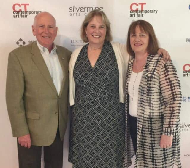 First Selectman Jim Marpe and his wife, Mary Ellen, joined Angela Whitfield, executive director of the CAFC at the opening night kick-off of an art pop-up in Westport.