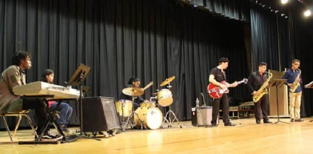 A Latin jazz band performs as part of International Night.