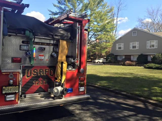 The Upper Saddle River Fire Department responds to a home on Sunset Lane Monday morning.