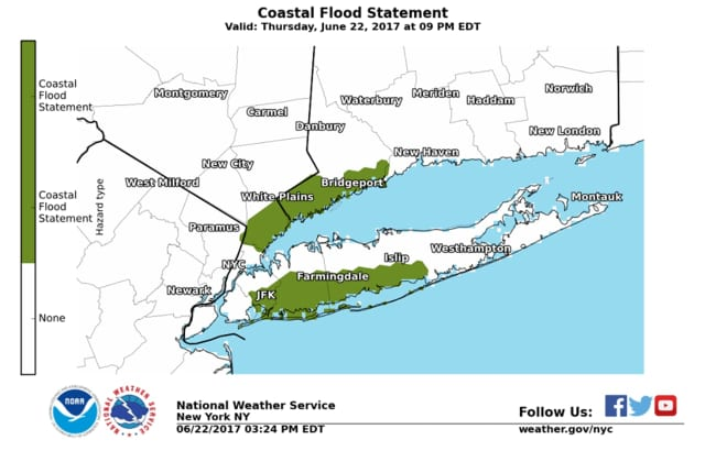 The areas where there could be coastal flooding Thursday evening.