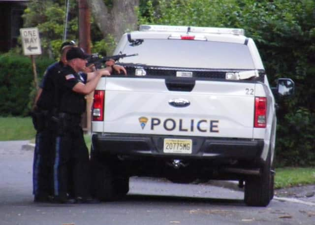 Police surrounded a Ridgewood home Saturday afternoon.