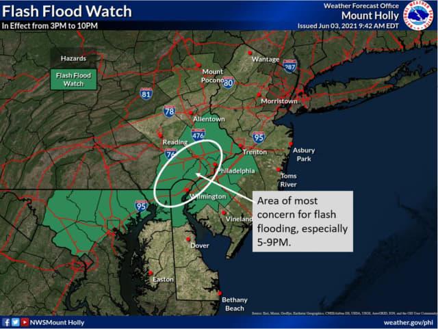 Flash flood watch, June 3