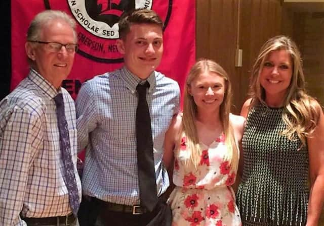 Eric Ayala Committee Member/Coach Stan Woods, scholarship recipients Brian McCormick and Devin Riker, Committee Member Wendy Woods Inserra