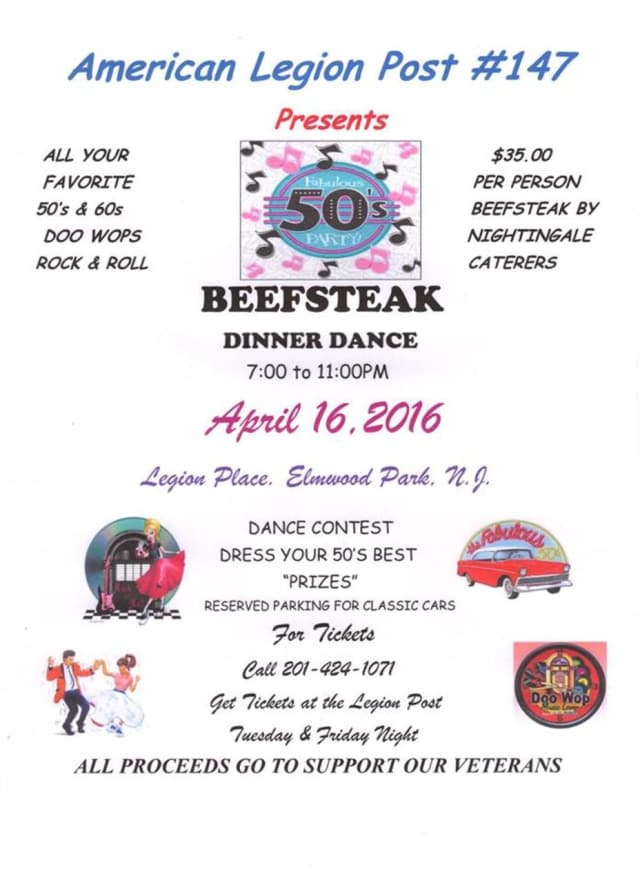 Elmwood Park American Legion Post 147 is hosting a dance contest fundraiser with a 1950s theme on Saturday, April 16, from 7 - 11 p.m.