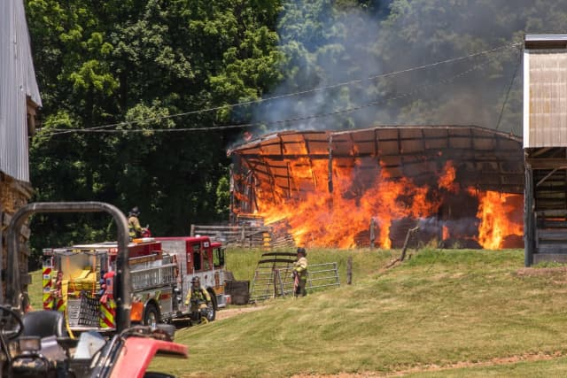 A fire ripped through a barn in Adams County bringing several different fire companies to the scene Saturday.