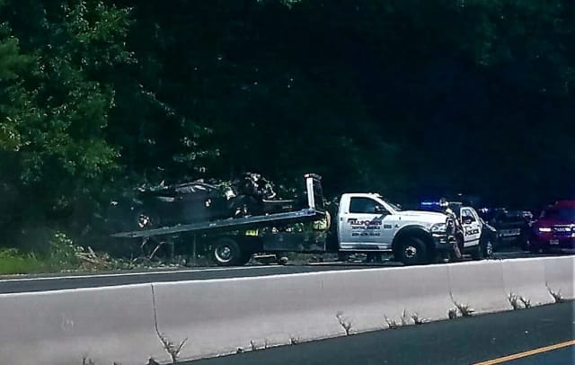Route 208 northbound was temporarily closed while the vehicle was removed by flatbed truck.