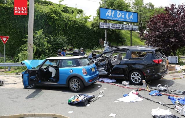The Mini Cooper slammed into the minivan on southbound Route 17 at the border of Carlstadt and East Rutherford.