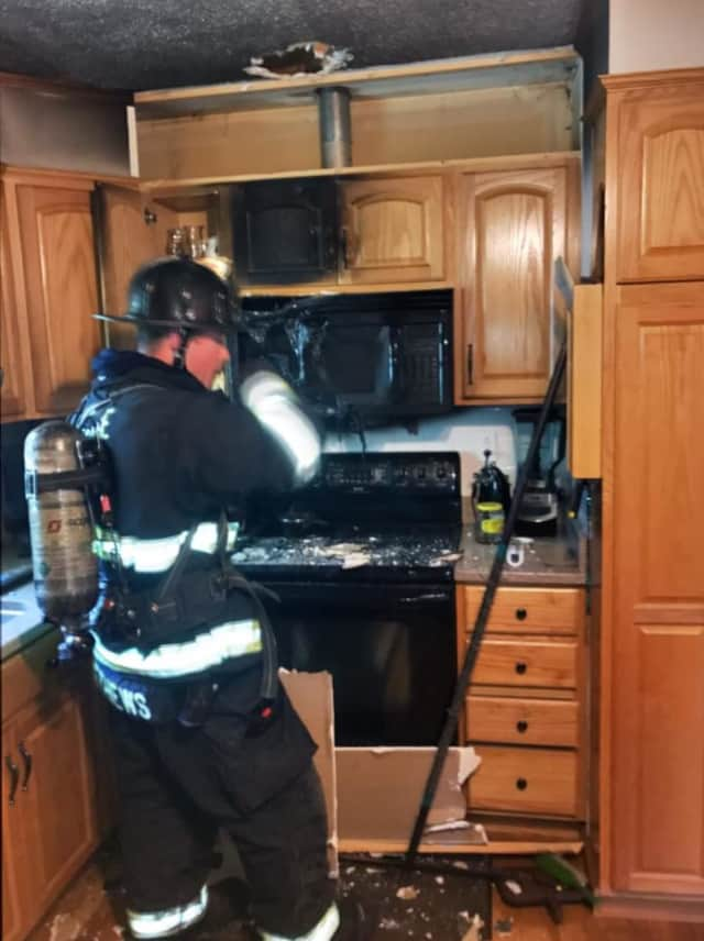 A fire damaged a Monroe kitchen on Sunday morning.