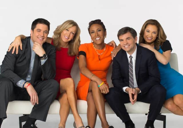"""Robin Roberts, center, poses with her """"Good Morning America."""""""