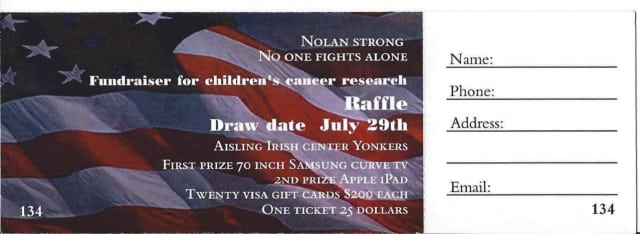 An example of the alleged raffle tickets being sold in Yonkers.