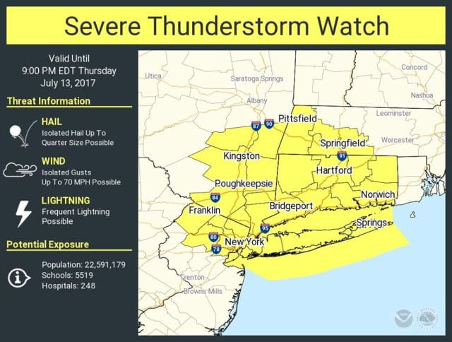 A look at the areas covered by the Severe Thunderstorm Watch.