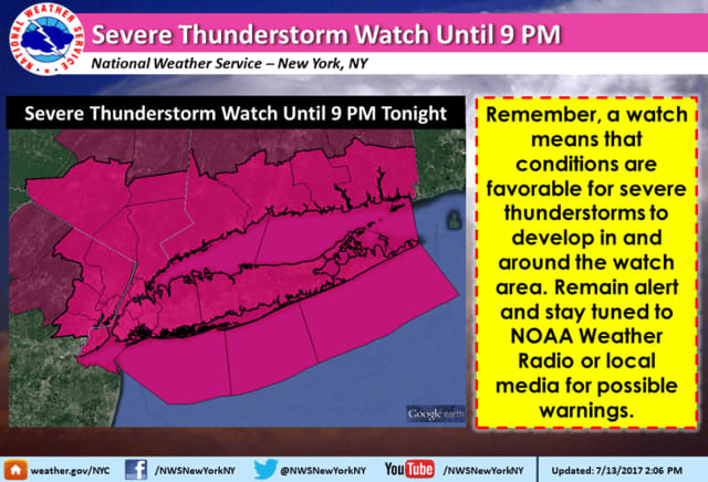 A look at the counties under the Severe Thunderstorm Watch.