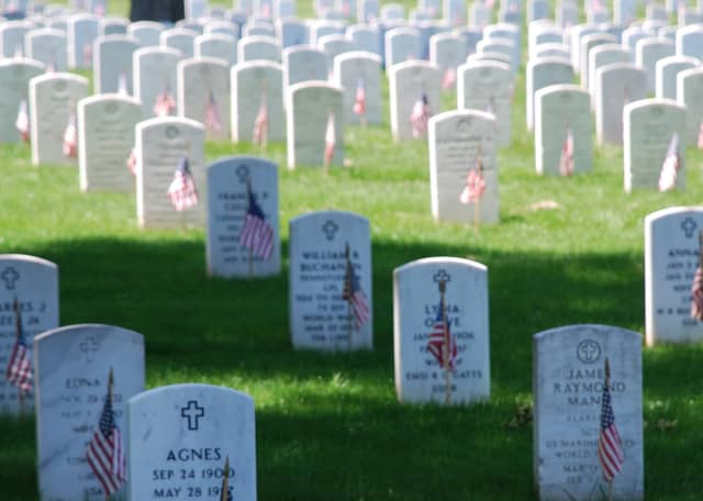 Flags decorate graves in Arlington National Cemetery on Memorial Day, 2008.