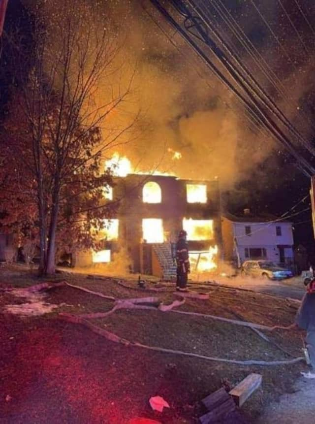 A large three-story home was destroyed by fire in Yonkers.