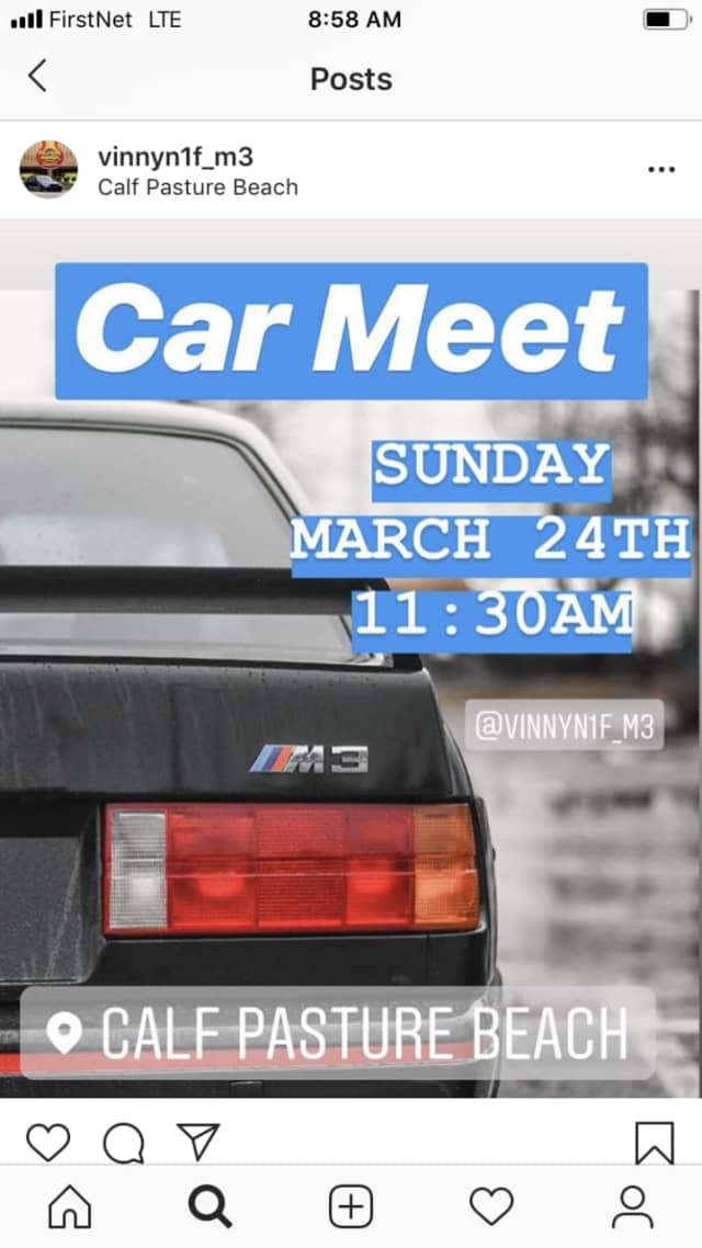 The Instagram post inviting people to the car meet.